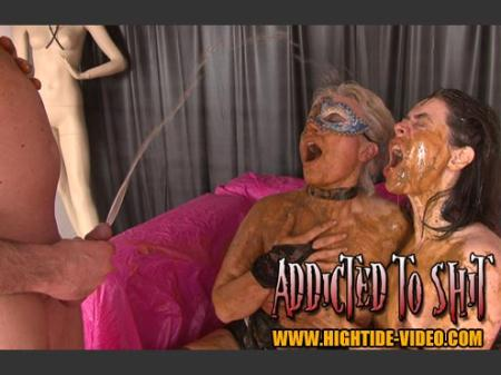 Models: Gina, Ingrid, 1 Male - ADDICTED TO SHIT [Hightide-Video / 1.20 GB] SD (Human Toilet, Humiliation)