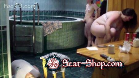 MilanaSmelly - Toilet slave serves 4 ladies in sauna [Defecation / 866 MB] HD 720p (Scatology, Group)