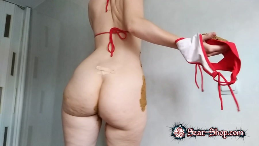 nastygirl - striptease pooping smearing in red bikini [Panty Scat / 1.07 GB] FullHD 1080p (Scatology, Solo)