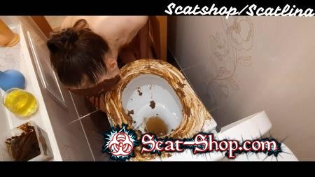 ScatLina - Dirty toilet (part 1) [Defecation / 1.28 GB] FullHD 1080p (Solo, Amateur)