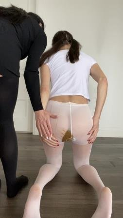 TheHealthyWhores - Shitting myself inside white pantyhose [Shit In Pantyhose / 135 MB] UltraHD 2K (Solo, Teen)